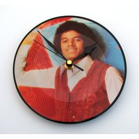 MICHAEL JACKSON Vinyl Record Wall Clock. A recycled 7 picture disc. Great gift for mum, dad, brother, sister, multi coloured colored, pop - Michael Jackson Gifts
