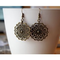 Bronze Filigree Flower Mandala Dangle Earrings, Boho, Etnic, Oriental, Festival - Oriental Gifts