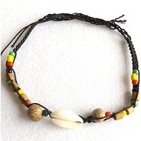 Cowry shell anklet, black cord with Cerebro seeds and reggae rasta Bob Marley coloured beads. - Bob Marley Gifts