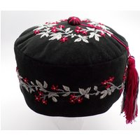 Smoking Cap Hand Embroidered Victorian Style,  Mens Lounge Hat With Tassel, Pill Box Hat - Smoking Gifts