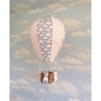 Hot air balloon hanging decoration/ light shade, pale pink and grey clouds, baby girl nursery decoration - Hot Air Balloon Gifts