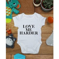 Love me harder baby vest boys girls grow, Little Hippo, Bodysuit, Hippy, Printed Babies Wear Clothing, Made To Order, Handmade, Gift - Hippo Gifts