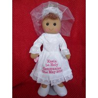 Personalised Rag Doll Christening Baptism holy Communion Dedication white dress - First Holy Communion Gifts