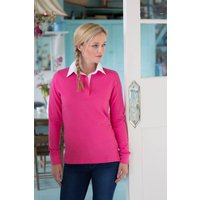 Front Row Womens / Ladies Long Sleeve Plain Sports Rugby Polo Shirt  FR101 - Polo Gifts