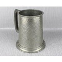 Inscribed Pewter Tankard Style Mug Hammered Metal Body with Chunky Handle Agecroft R.C. Srcatch Fours 1950 - Rc Gifts