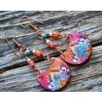 Oriental Colorful Polymer Clay Earrings,Boho Hippie Fun Handmade Earrings, Artisan Earrings,Fiesta - Oriental Gifts