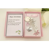 Personalised happy 16th birthday pink dragonfly lucky sixpence, charm, keyring, personalised gift box, choice of heart and number charm - 16th Birthday Gifts