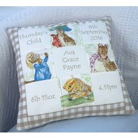 Natural Beatrix Potter Personalised Memory Cushion , New Baby Gift  Christening Gift  Peter Rabbit  Neutral Nursery   Birth Details - Beatrix Potter Gifts