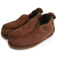 Deluxe Mens 100% Twinface Sheepskin Suede Slippers Moccasins in brown colour Handmade  Mens Shoes Wool Slippers Ugg style SIZE: EU 42/ UK 8 - Ugg Gifts