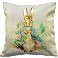 Peter Rabbit, Beatrix Potter Throw Cushions, Adapted Peter Rabbit and Friends (cover only)  Peter holding a carrots watercolour veg - Beatrix Potter Gifts
