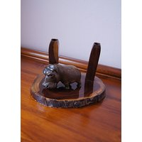 Vintage Office Desk Accessory Wooden Hippo and 2 Wooden  Pen Holders. - Hippo Gifts