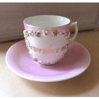 Very Sentimental Pink Lustre Edwardian Style small Cup and Saucer Remember Me - Sentimental Gifts