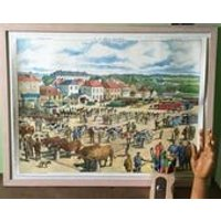 French School Poster Cattle Market Fair Cow Textile Factory. Industrial Educational Wall Chart. Rossignol. 1950s Midcentury. Country Kitchen - Educational Gifts