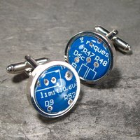 Blue Cufflinks Circuit Board Cufflinks Round Cufflinks Christmas Gift For Him Electronic gift Accessory Eco Recycled Motherboard Husband - Electronic Gifts