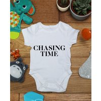 Chasing time baby vest boys girls grow, Little Hippo, Bodysuit, Hippy, Printed Babies Wear Clothing, Made To Order, Handmade, Gift - Hippo Gifts