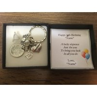 70th birthday gift lucky sixpence keyring  1948 gift for him - 70th Birthday Gifts