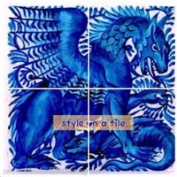 Lovely Arts and Crafts William De Morgan Gothic Blue Dragon Beast 4 x 4.25 or 108mm ceramic tile mural mosaic wall art splash back - Arts And Crafts Gifts