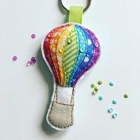 Hot Air Balloon rainbow keyring - Hot Air Balloon Gifts