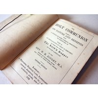 Holy Communion 1882 Antique Victorian Christian religious old book Hardback - First Holy Communion Gifts