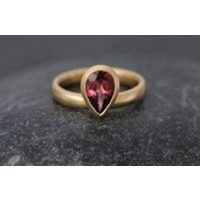 Pink Tourmaline Pear Cut Engagement Ring  18k Gold Tourmaline Ring  Pink Gemstone Solitaire Engagement Ring  Size 5.5 FREE SHIPPING - Engagement Ring Gifts