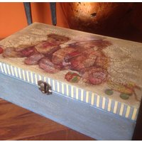 Rustic Decoupaged  Shabby Chic Wooden Vintage look Box Teddy Bears FREE PP - Teddy Bears Gifts