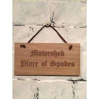Motorshed  Place of Spades. Shabby chic style wooden wall/door plaque/sign. Great gift for fans of Motorhead and gardening alike! - Motorhead Gifts