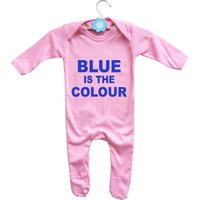 Babys Chelsea F.C. football team inspired Blue is the colour pink rompasuit bodysuit onesie. - Chelsea Gifts
