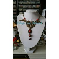 Large Floral Filigree Winged Heart Victorian Style Necklace with Red Stone, Fire Berry and Shambala Beads on Twisted Bronze Chain - Floral Gifts
