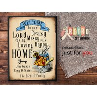Welcome Plaque, metal wall sign, Alice in Wonderland, White Rabbit, New Home Gift, Personalised Sign, House Warming Gift, Retro Style - Warming Gifts