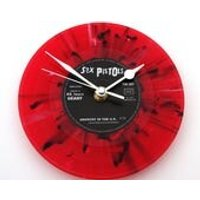 The SEX PISTOLS Clock made from a recycled 7 single, Anarchy in the UK, Red and Black Splatter Colored vinyl Punk Rock Clock gift for men - Sex Pistols Gifts