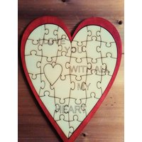 Laser Cut Heart JigSaw  Can be Personalised - Jigsaw Gifts