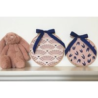 A lovely set of two, Cloud 9 fabric wall hangings with navy bows. Embroidery Hoop Decor. Nursery Decor. Underwater by Elizabeth Olwen. - Nursery Gifts