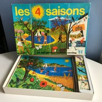 Fermand Nathan Four Seasons Educational Game. Sorting Game. Puzzle. Childrens Wall Decor. Midcentury Kids Illustration. Original Prints - Educational Gifts