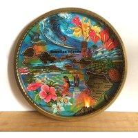Kitsch 1970s Hawaiian Souvenir Tin Tray Unused  Artwork by Ken Idaag - Hawaiian Gifts