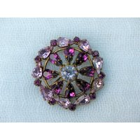 Vintage 1950s  Bronze Flower Brooch With Clawset Purple and Lilac Crystal Peardrop Diamant - Lilac Gifts