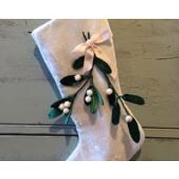 Luxury Christmas Stocking in beautiful blue silk velvet decorated with romantic mistletoe sprigs - Mistletoe Gifts