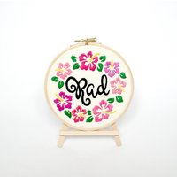 Rad hibiscus embroidery 6 hoop art Black Friday Hawaiian flowers Surf art Surfing gift for her Pink floral decor Hand embroidered wall art - Hawaiian Gifts