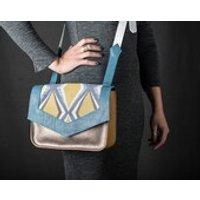 Messenger Handbag: Blue  Mustard Leather with Geometric Fabric Insert - Handbags Gifts