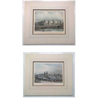 2 RARE Antique Etchings Chelsea Suspension Bridge and Buckingham Palace London Engravings by Read Wrightson in Mounts - Chelsea Gifts