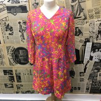 Womens Vintage 1960s 1970s Psychedelic Floral Flower Dress Retro Pink Size UK 12 FREE WORLDWIDE Postage - Seek Gifts