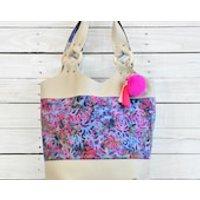 Large Womens Shoulder Tote Bag Weekender Weekend Travel Handbag Ladies Recycled Leather Bag Purple Pink Pom Pom Tassel Oversize Tote OOAK - Handbags Gifts