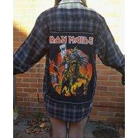 Reworked Iron Maiden final frontier tour grey plaid shirt handmade heavy metal - Iron Maiden Gifts
