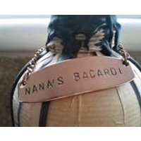 Nanas Bacardi Bottle Plaque, Metal Bottle Charm, Copper, Personalised, Family Gift, Gift For Her, Gift For Nan, Gift For Drinkers, Granny - Bacardi Gifts