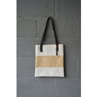Wyatt and Jack Made in UK Upcycled Bouncy Castle PVC Tote Shopper Bag in Nude Sandy Beige and Concrete Grey - Bouncy Gifts