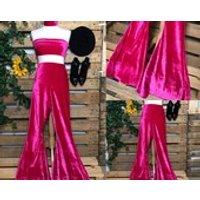 Pants only Amazing handmade high waisted stretchy cerise pink velvet bellbottom flares  custom made to order  70s boho - Custom Gifts
