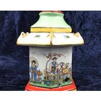 Unusual Vintage Night Light Holder, Oriental Design, Ridem Light, Ceramic Light Holder, Bedside Table, Bedroom Decor, Pagoda Form, Unique - Oriental Gifts