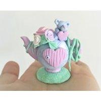 Collectible fairy house figurine, cute clay figurine, kawaii, cute decor, nursery decor, cute clay art, kawaii ornament, marble teddy bears - Teddy Bears Gifts