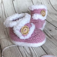 Handmade crochet baby ugg boots/booties  06 months  ready to ship - Ugg Gifts