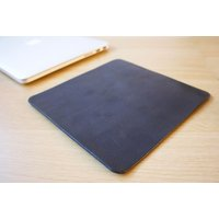 Black Leather Mouse Pad Leather Desk Pad Handmade in London Custom Sizing Available - Computers Gifts