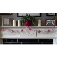 Pink star bunting  crochet  garland  nursery decor  baby girl gift  baby shower  house warming  mantle garland  fireplace - Warming Gifts